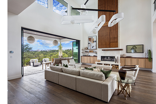 Austin home inside living room with view